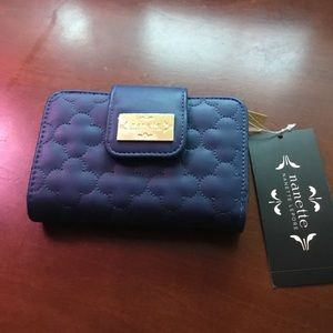 Nanette Lepore blue and gold wallet (French purse)